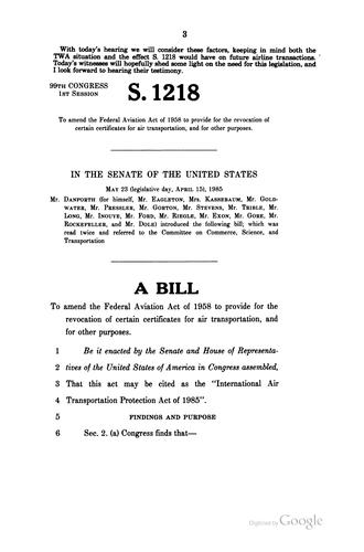 Download International Air Transportation Protection Act of 1985