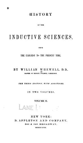 Download History of the inductive sciences.