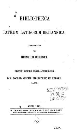 Download Bibliotheca patrum Latinorum Britannica.