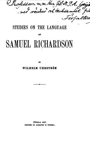 Studies on the language of Samuel Richardson