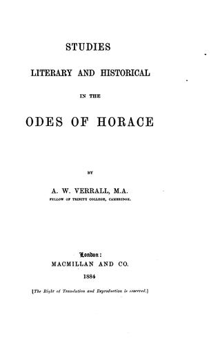 Download Studies, literary and historical, in the Odes of Horace