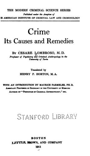 Download Crime, its causes and remedies.
