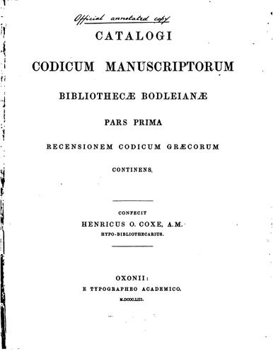Download Catalogi codicum manuscriptorum Bibliothecae Bodleianae.