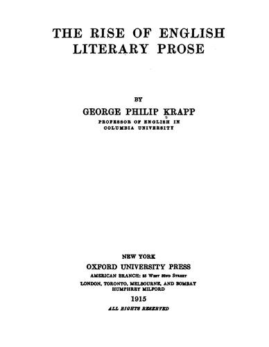 Download The rise of English literary prose.