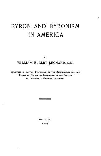 Download Byron and Byronism in America.