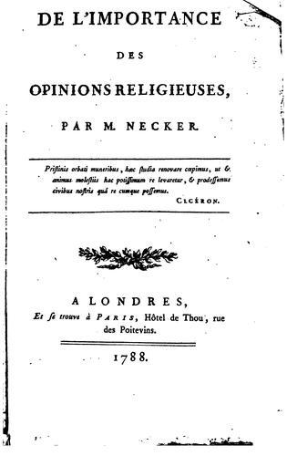 De l'importance des opinions religieuses