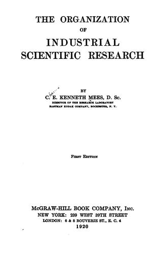 The organization of industrial scientific research