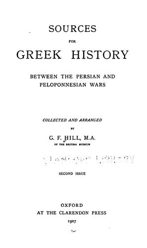 Download Sources for Greek history between the Persian and Peloponnesian wars.