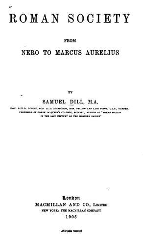 Roman society from Nero to Marcus Aurelius.