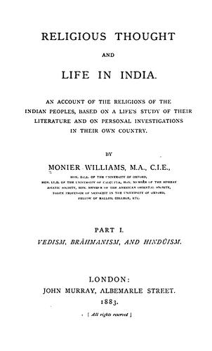Religious thought and life in India.