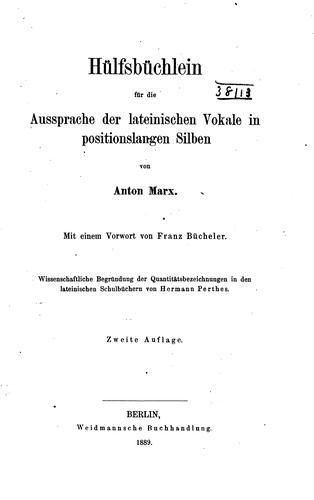 Download Hülfsbüchlein für die Aussprache der lateinischen Vokale in positionslangen Silben