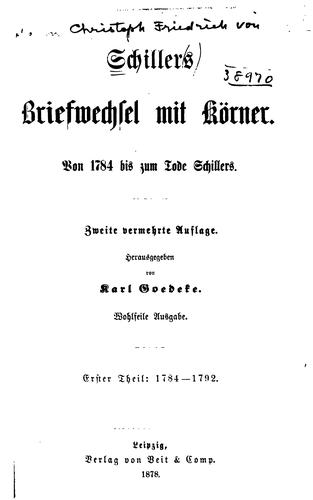 Download Schillers briefwechsel mit Körner.