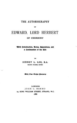 Download The autobiography of Edward, Lord Herbert of Cherbury