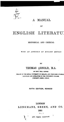 Download A manual of English literature, historical and critical