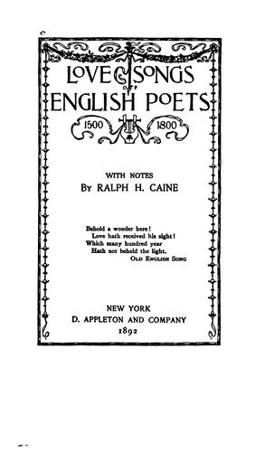 Download Love songs of English poets, 1500-1800