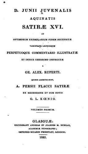 Download D. Junii Juvenalis aquinatis Satiræ XVI. ad optimorum exemplarium fidem recensitæ
