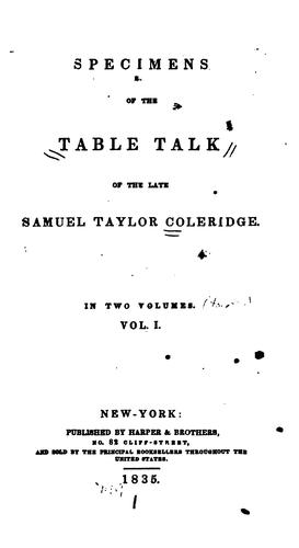 Specimens of the table talk of the late Samuel Taylor Coleridge …