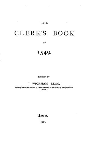 Download The clerk's book of 1549.