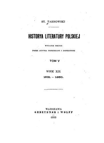 Historya literatury polskiej.