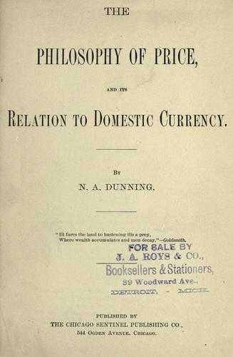 Download The philosophy of price, and its relation to domestic currency.