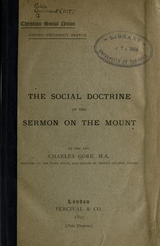 The social doctrine of the Sermon on the Mount.