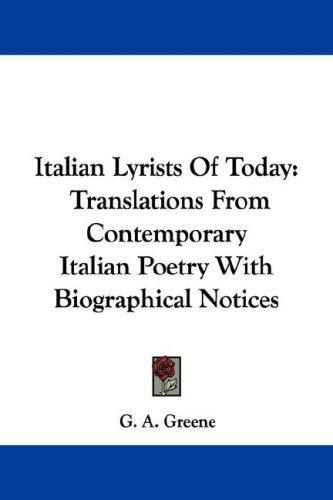Download Italian Lyrists Of Today