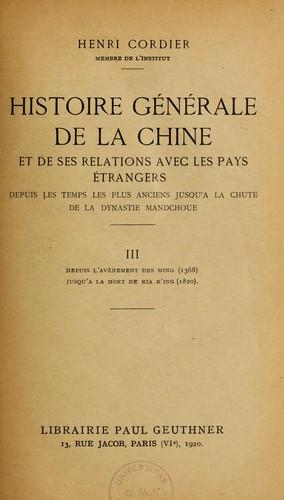Histoire générale de la Chine et de ses relations avec les pays étrangers