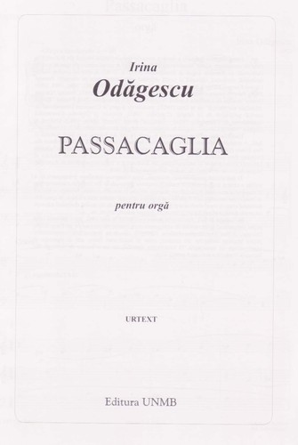 Passacaglia for organ by