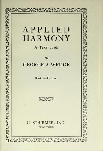 Applied harmony, a text-book