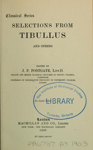 Download Selections from Tibullus and others