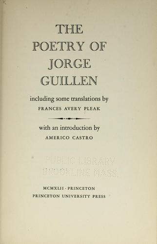 The poetry of Jorge Guillen