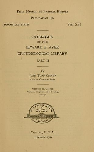Download Catalogue of the Edward E. Ayer Ornithological Library