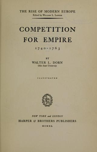 Download Competition for empire, 1740-1763