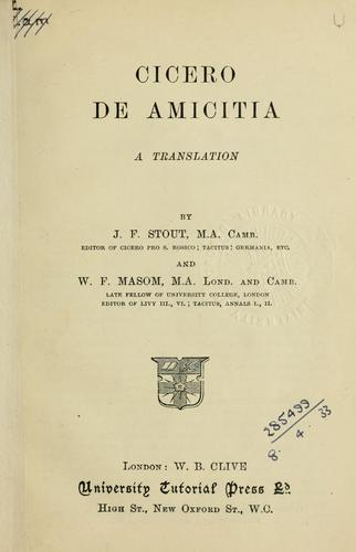 Download De amicitia, a translation by J.F. Stout and W.F. Masom.