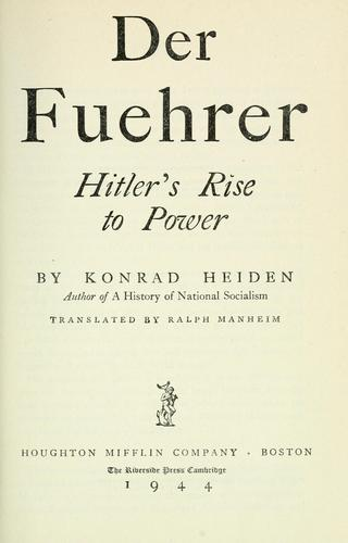 Download Der Fuehrer; Hitler's rise to power