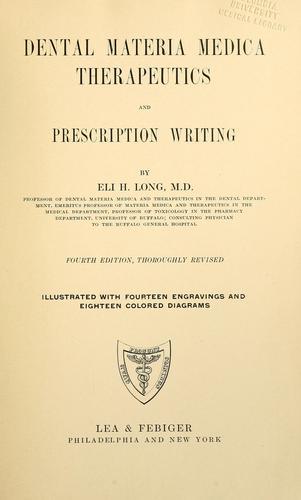 Dental materia medica, therapeutics and prescription writing