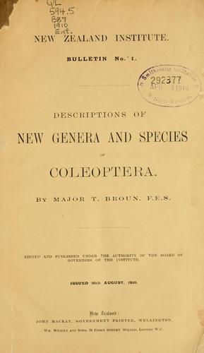 Descriptions of new genera and species of Coleoptera
