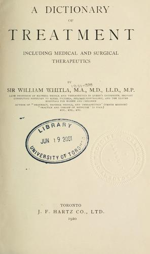 A dictionary of treatment