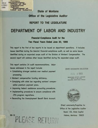 Department of Labor and Industry financial-compliance audit for the two fiscal years ended June 30,…