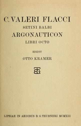 C. Valeri Flacci Setini Balbi Argonauticon libri octo.