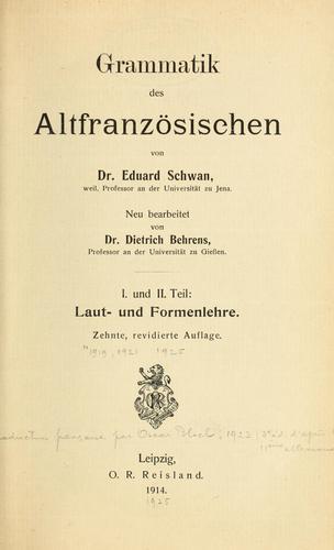 Download Grammatik des Altfranzösischen