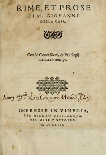 Download Rime et prose di M. Giovanni della Casa …