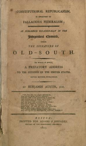 Constitutional republicanism, in opposition to fallacious federalism