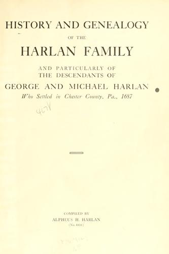 Download History and genealogy of the Harlan family