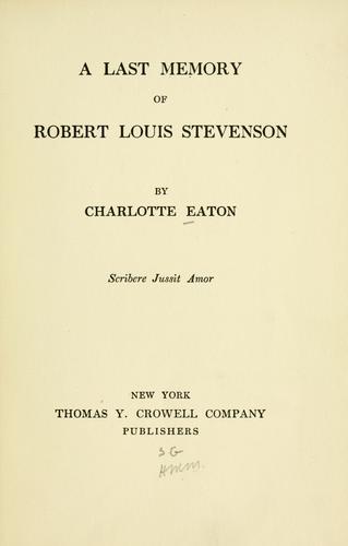 Download A last memory of Robert Louis Stevenson