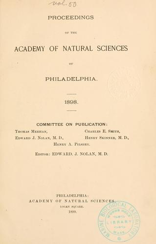 Proceedings of the Academy of Natural Sciences of Philadelphia, Volume 50
