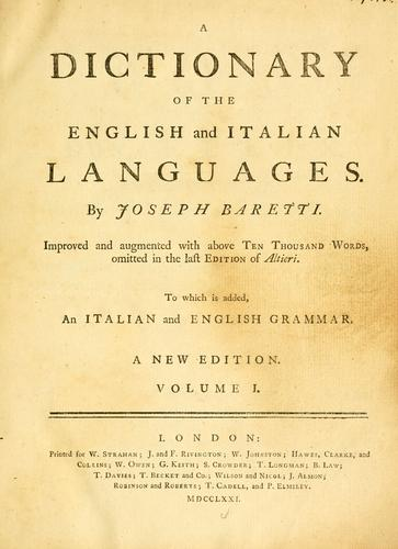 A dictionary of the English and Italian languages …