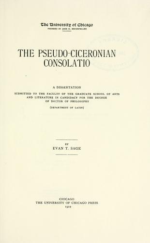 The pseudo-Ciceronian Consolatio