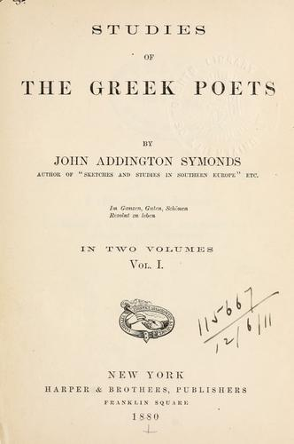 Download Studies of the Greek poets.