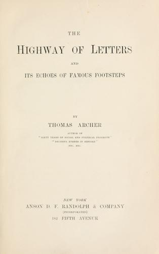 Download The highway of letters and its echoes of famous footsteps